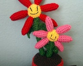 Crochet Mother and Baby Flowers in Flower Pot - Mother's Day Gift/Decoration