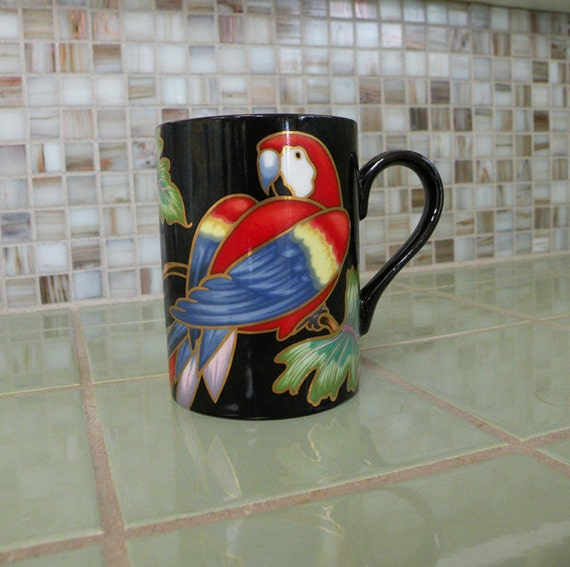 Elegant Fitz and Floyd Jungle Parrot Vintage Mug // 80s Black Bird Tropical Coffee Tea Cup