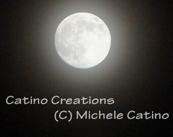 Glowing Silver moon phases of moon Full Moon Misty sky night sky dark night sky celestial art for Him