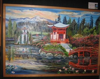 Chinese Temple Garden, Around The World Art, Asian Art, Dan Leasure Oil, 36 x 26 in, Framed