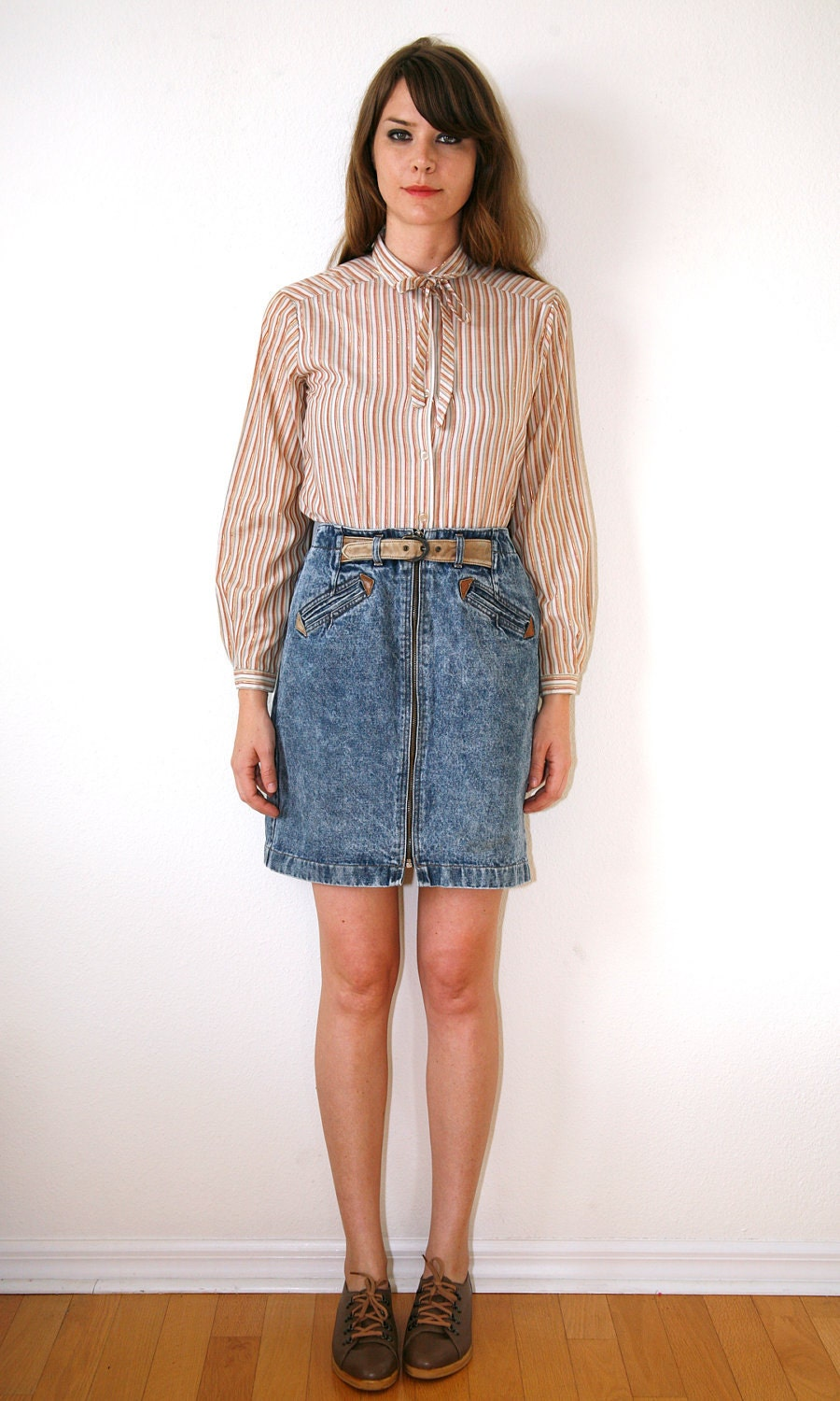 high waisted jean skirt washed denim by vintagerebelle