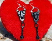 EARRINGS METAL Black ZIPPER Sassy Funky Funky Cool Hot Boho Chic Unconventional Dare to Wear