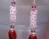 EARRINGS, CARNELIAN, COILING, Dangling, Swinging, Reddish, Brownish ,Pink ,Feminine ,Young ,Adorable, Appealing, Stylish,Tamara Cyprus, Chic