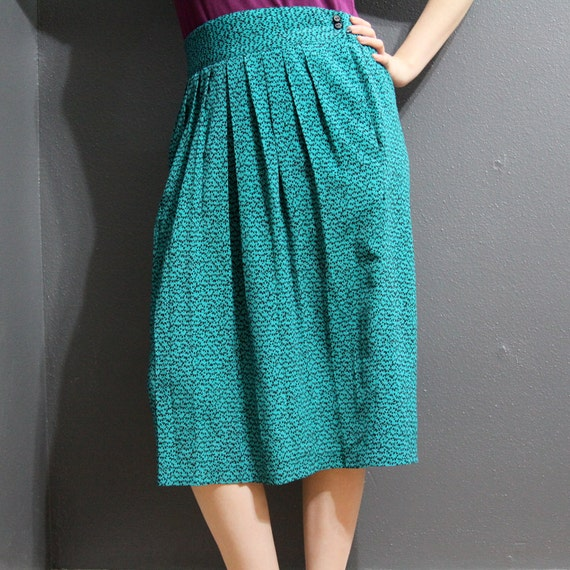 RESERVED LISTING /// Vintage 1980s High-Waisted Teal Pleated Skirt