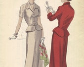 Vogue Sewing Pattern 1940s Two Piece Dress Slim Fit Skirt Short Sleeve Jacket Shaped Waist Cuffs Bust 32