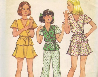 1970s Simplicity Sewing Pattern Retro Girls Pants Mini Skirt Wrap Shirt Kimono Sleeves Size 12 Bust 30