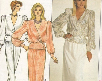 80s Butterick Sewing Pattern Uncut FF Wrap Blouse Wide Shoulders Deep V Neck Hip Peplum Long Straight Skirt Tapered Pants Bust 34