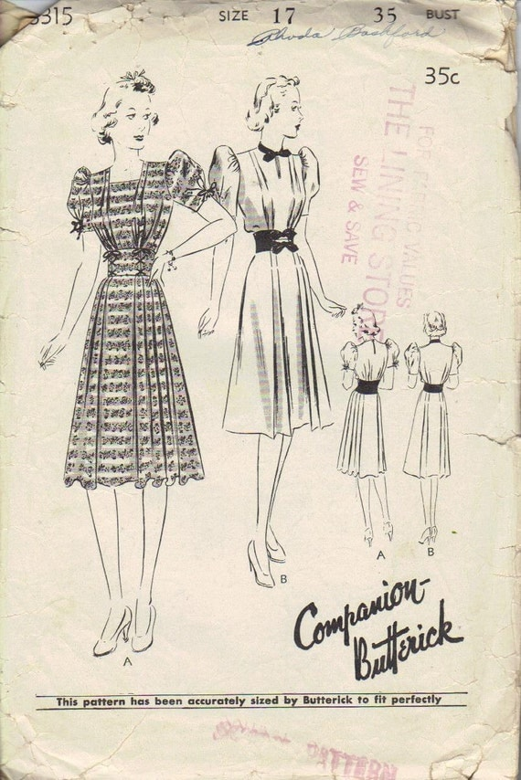 Butterick 8315 Sewing Pattern 30s Companion Tea Garden Party Dress Pleated Skirt Depression Era WWII Fashion Bust 34 36