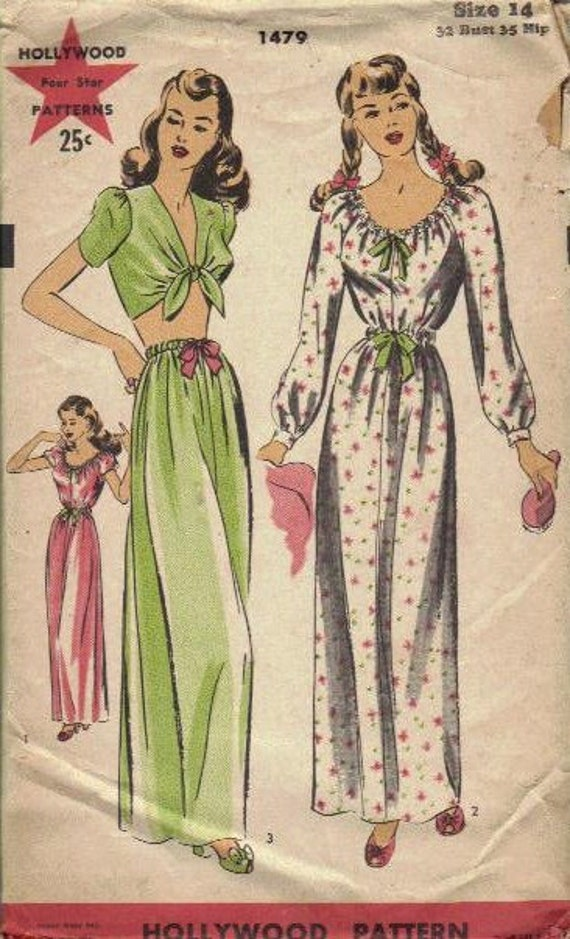 Rare 1940s Hollywood Patterns Sewing Pattern Misses Nightgown Pajamas Lingerie Genie Pants Bandeau Top Sleepwear Bust 32