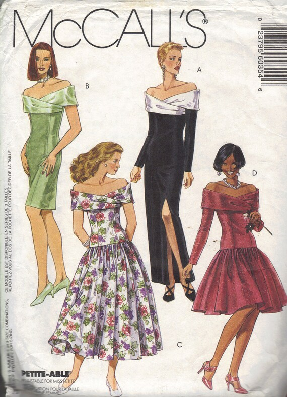 McCall's Sewing Pattern Evening Gown Cocktail Dress Off Shoulder Slim Wiggle Dress Dropped Waist Full Skirt Shawl Collar Sexy Bust 36