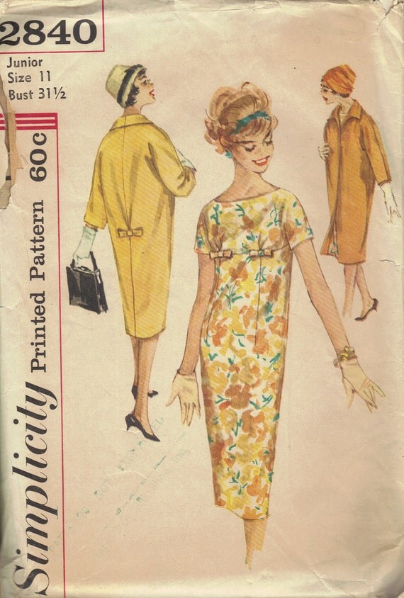 Mad Men Style Sheath Dress Duster Coat Simplicity 60s Sewing Pattern Kimono Sleeves Back Kick Pleat Empire Waist 20s Retro Style Bust 32