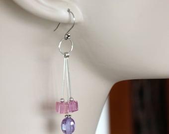 long dangle pastel cubic zirconia sterling silver earrings, handmade jewelry by girlthree