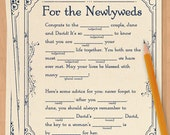 Wedding adlibs, wedding madlibs, wedding ad libs, wedding mad libs, wedding guest book alternative, bridal shower - PRINTABLE version