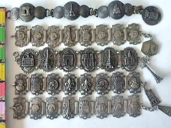 1 Vintage Souvenir Paris Silver Tourist Bracelet, extra-WIDE