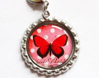Butterfly zipper pull, zipper pull, purse charm, butterfly charm, bottle cap, Butterfly, red (944)