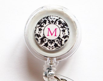 ID Badge Holder, Custom, Personalized, Monogram, Retractable id, Badge clip, black white, damask (1126)