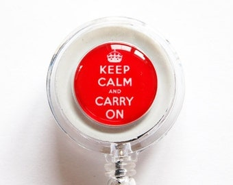 ID Badge Holder, Keep Calm Carry On, keep calm id badge, Retractable id, Badge clip, Red