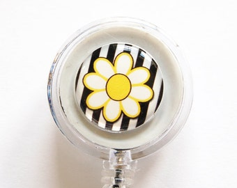 ID Badge Holder, Flower, Retractable id, Badge clip, Daisy, Yellow, Black