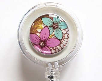 ID Badge Holder, Flower, Retractable id, Badge clip, ID Badge Holder, Flower, Retractable id, Badge clip, Pink, Blue, Brown, name tag (1148)