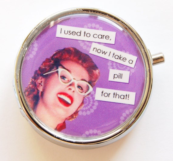Funny Pill Box, case, Pill Case, Pill Container, Purple, humor, pill box, Gift for her (627)