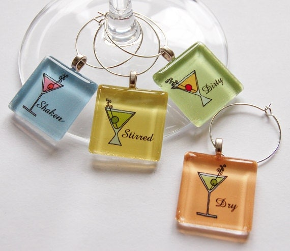 Martini Charms, Wine Glass Charms, Wine Charms, Glass Wine Charms, Barware, Martinis, Shaken, Stirred, Dry, Dirty (736)