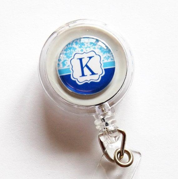 Badge Reel, ID Badge Holder, Custom, Personalized, Monogram, Retractable id, Badge clip, blue, Custom Badge Reel
