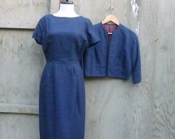 1960s Silk Dress and Jacket Set in Navy Blue