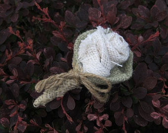 Mens Rustic Burlap Boutonnieres - Set of 3 For Your Country Wedding