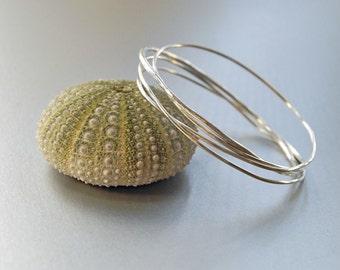Twisted Bangle    Sterling Silver Bracelet   Small Size   4 Bangles Set