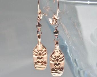 Buddha Earrings . Rose Gold