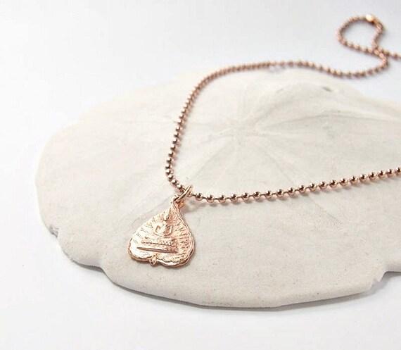 Buddha Pendant Necklace.  Rose Gold . Zen Style
