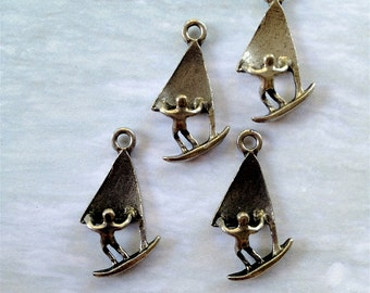 Windsurfer1 Charms -5 pieces-(Antique Pewter Silver Finish)--style 720-