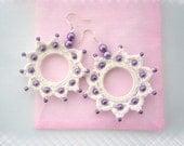 Crochet Earrings - Beaded Earrings - Cotton Dangling Circle Earrings - Handmade Jewellery