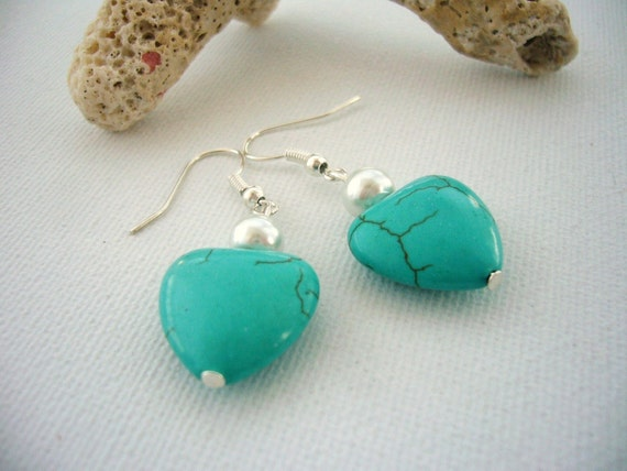 Turquoise Earrings - Heart Earrings - Pearl Earrings -  HandmadeJewellery