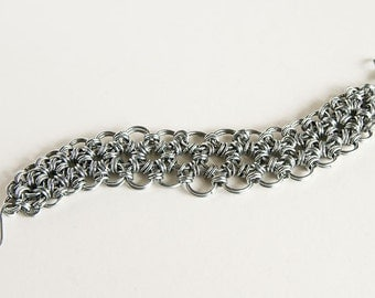 """Stainless Steel Bracelet Tapered Japanese Chainmaille 12 in 2 Chain Maille Mail 7.5"""" Bracelet"""