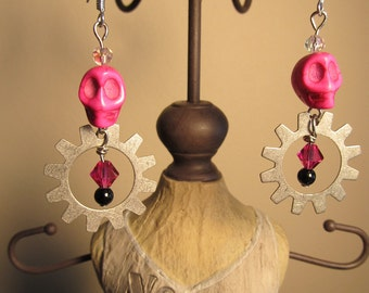 Steampunk Antique Silver and Hot Pink Skull Earrings with Swarovski Crystals
