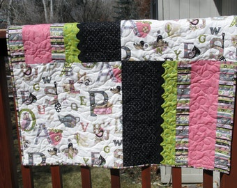 Handmade Patchwork Baby Quilt - Baby Shower Gift - Baby Quilt - Pink ABCs