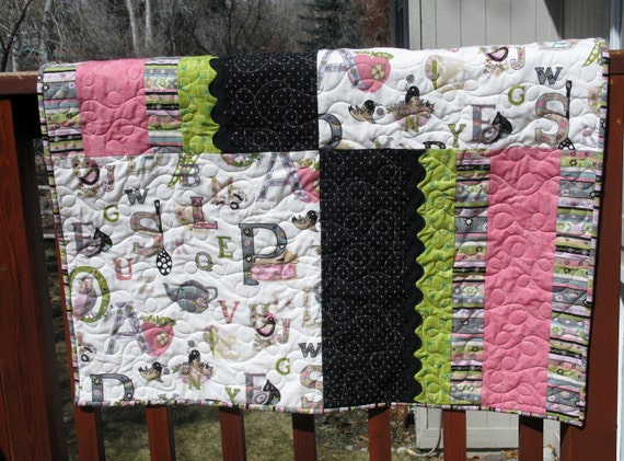 Handmade Patchwork Baby Quilt - Baby Girl - Baby Quilt - Pink ABCs