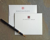 Monogram Stationery Set - Personalized Letterpress Folded Note Cards - Ornate Red and Black Folio