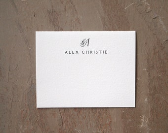 Monogram Letterpress Stationery Set - Personalized Folded Cards - Engraver