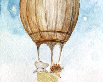Hedgehog bear watercolor print flying barrel balloon nursery art kids room decor cute illustration