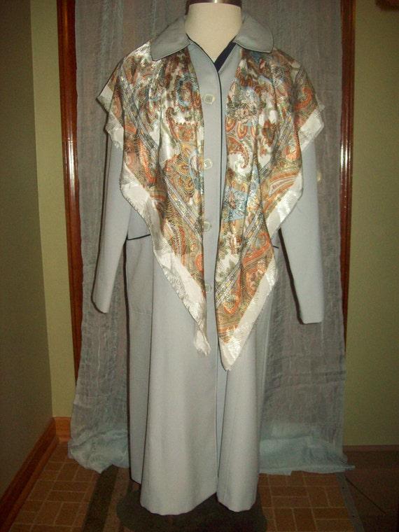 Vintage womens 70s coat long trenchcoat raincoat Spring Fall grey blue trim Plus size union label