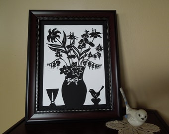 Delicate Wildflowers Vase Elegant Papercut Silhouette Wall Art