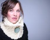 Handmade CREAM Chunky neck warmer cowl scarf with big round artsy light SPA BLUE button