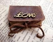 Mini Leather Book - LOVE - Vintage Style - Old Leather - Bronze Decor - 4x3 cm