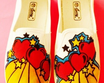 Hearts and Stars Hand Painted Canvas Slip-On Shoes-Vans Shoes-Psychedelic Shoes