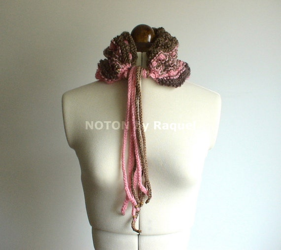 Brown and Pink Pleated Knit Cowl