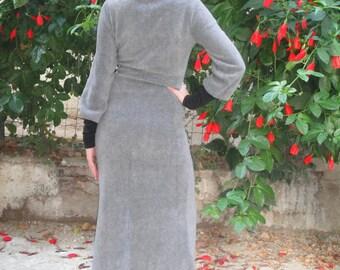 Winter Dress, Maxi Winter Dress, Turtleneck , Fleece Dress