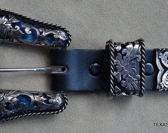 IN STOCK Handmade 3-Pc Ranger Buckle Set with Hand Engraved Fillagreed German Silver Overlay