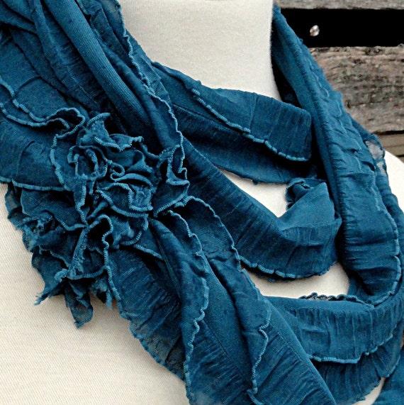 Cerulean Blue Infinity Scarf - Teal Ruffled Circle Scarf